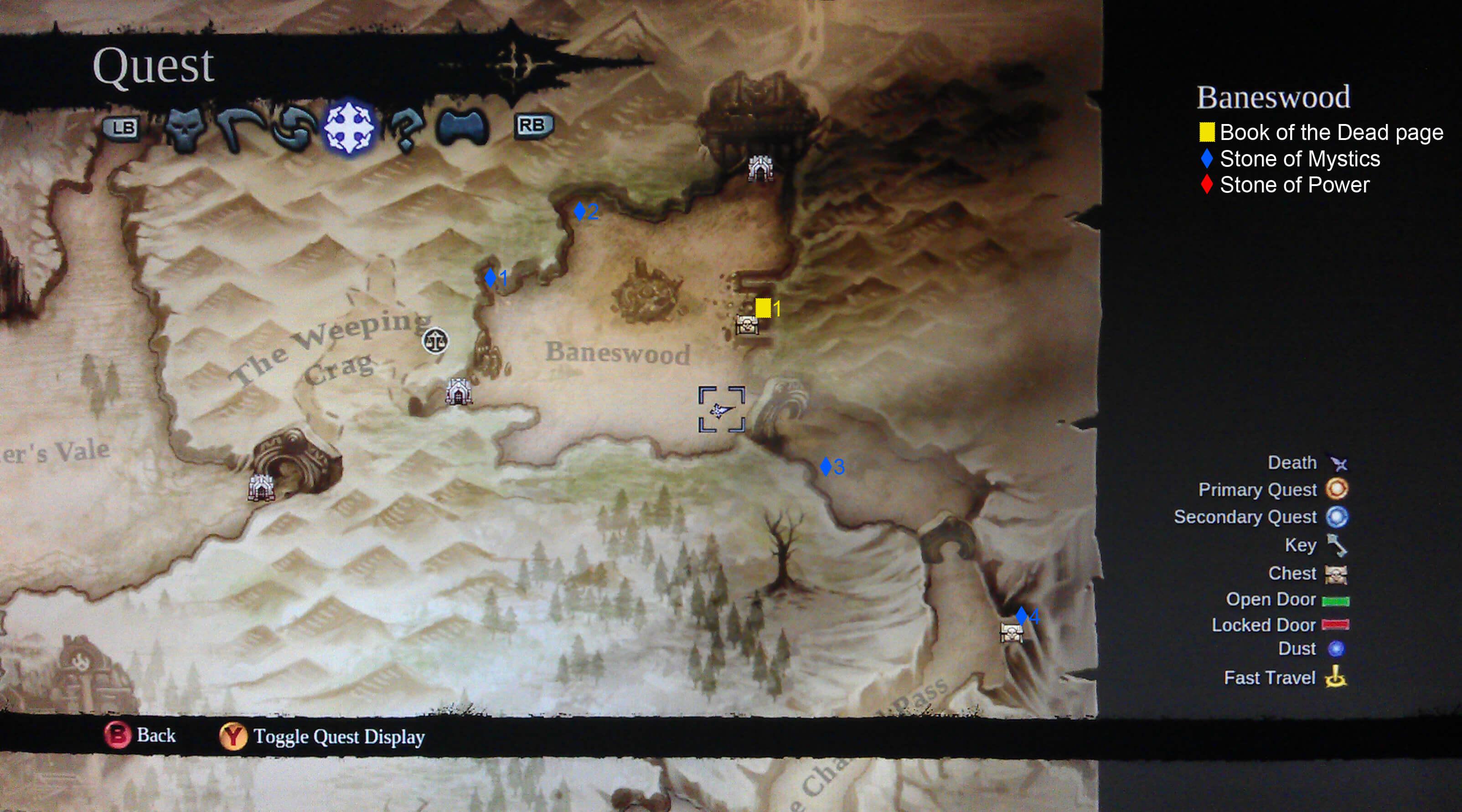 Darksiders II Baneswood Collectibles Map