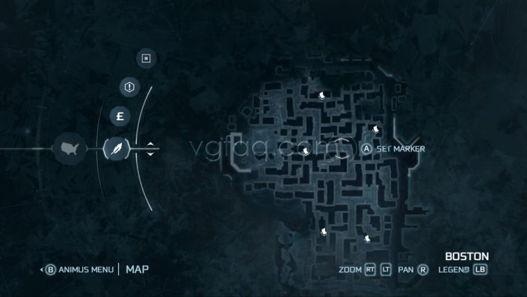 Assassin's Creed III Boston North District Almanac Pages Locations