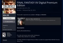 Final Fantasy XV Digital Premium Edition Pre-Order Bonuses Revealed