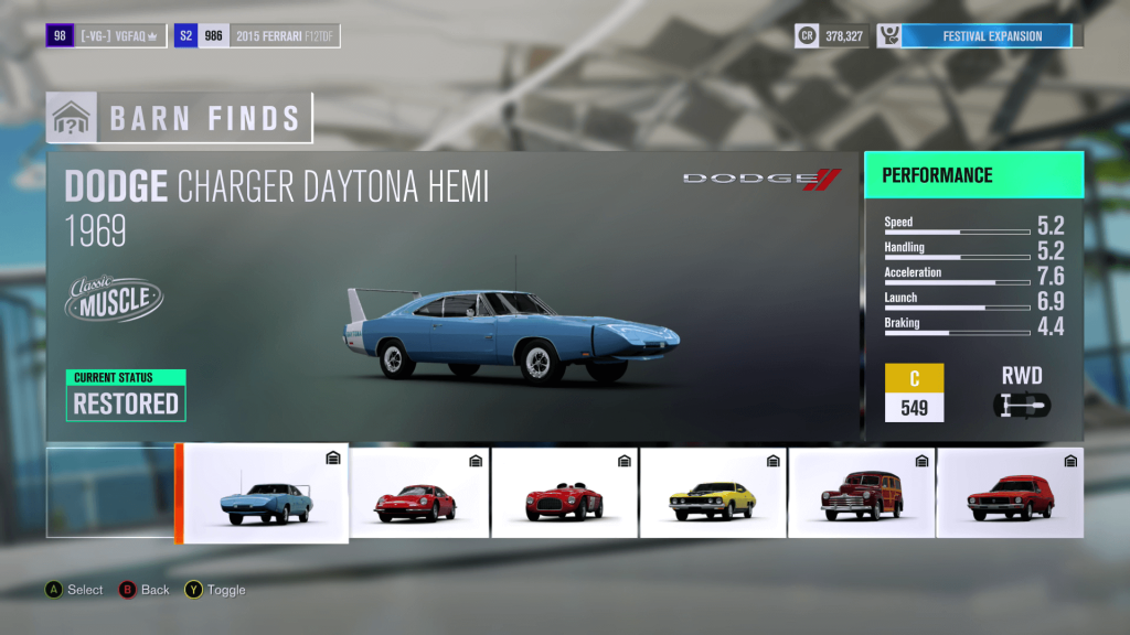 Forza Horizon 3 Dodge Charger Daytona Hemi Barn Find