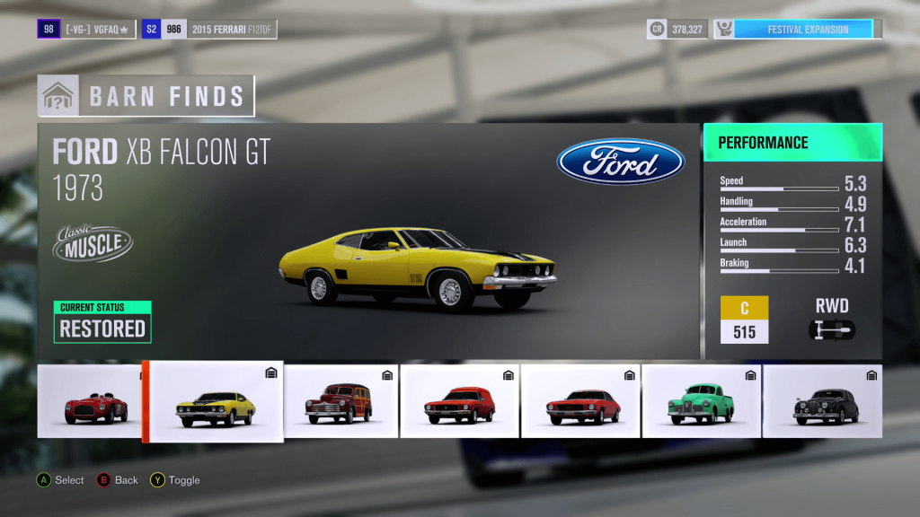 Forza Horizon 3 Ford XB Falcon GT Barn Find