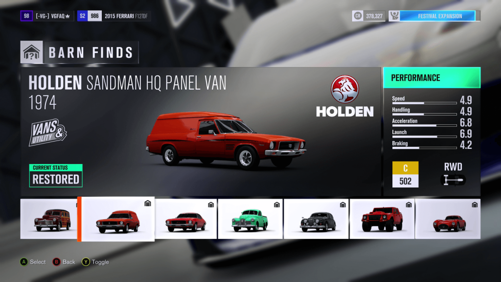 Forza Horizon 3 Holden Sandman HQ Panel Van Barn Find