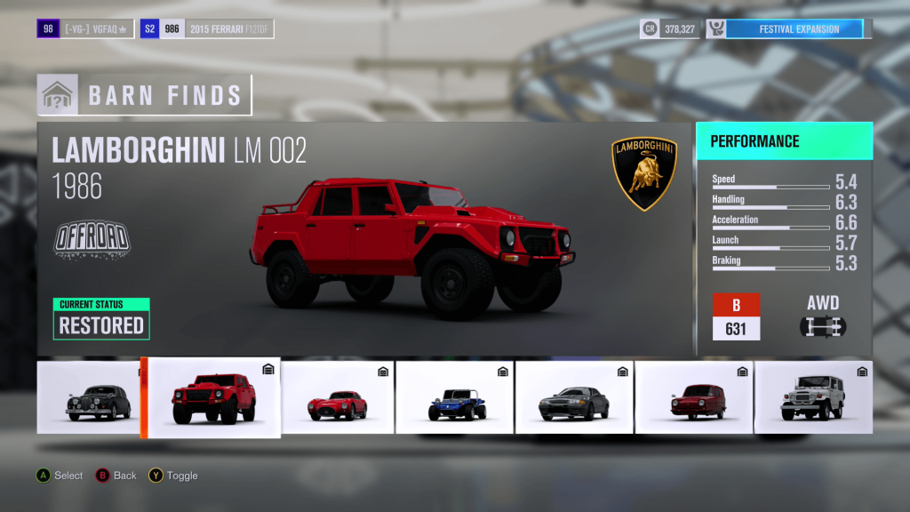 Forza Horizon 3 Lamborghini LM 002 Barn Find