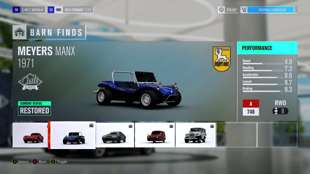 Forza Horizon 3 Meyers Manx Barn Find