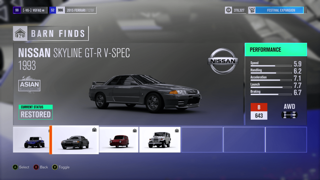 Forza Horizon 3 Nissan Skyline GT-R V-SPEC Barn Find