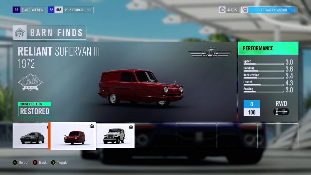 Forza Horizon 3 Reliant Supervan III Barn Find