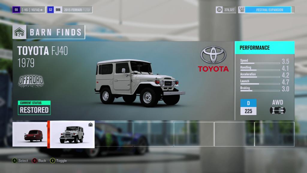 Forza Horizon 3 Toyota FJ40 Barn Find
