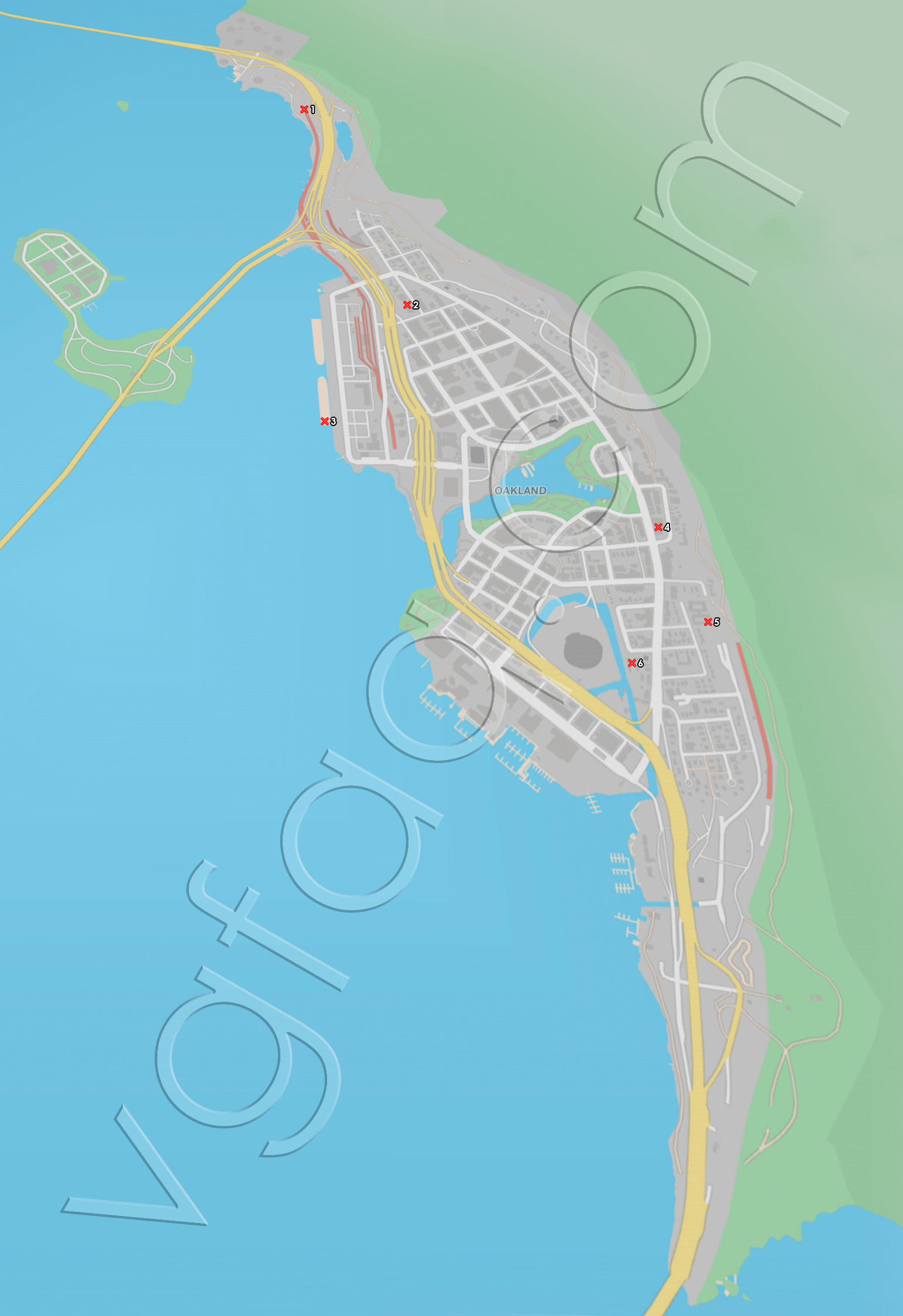 Watch Dogs 2 Oakland Paint Jobs Locations Map