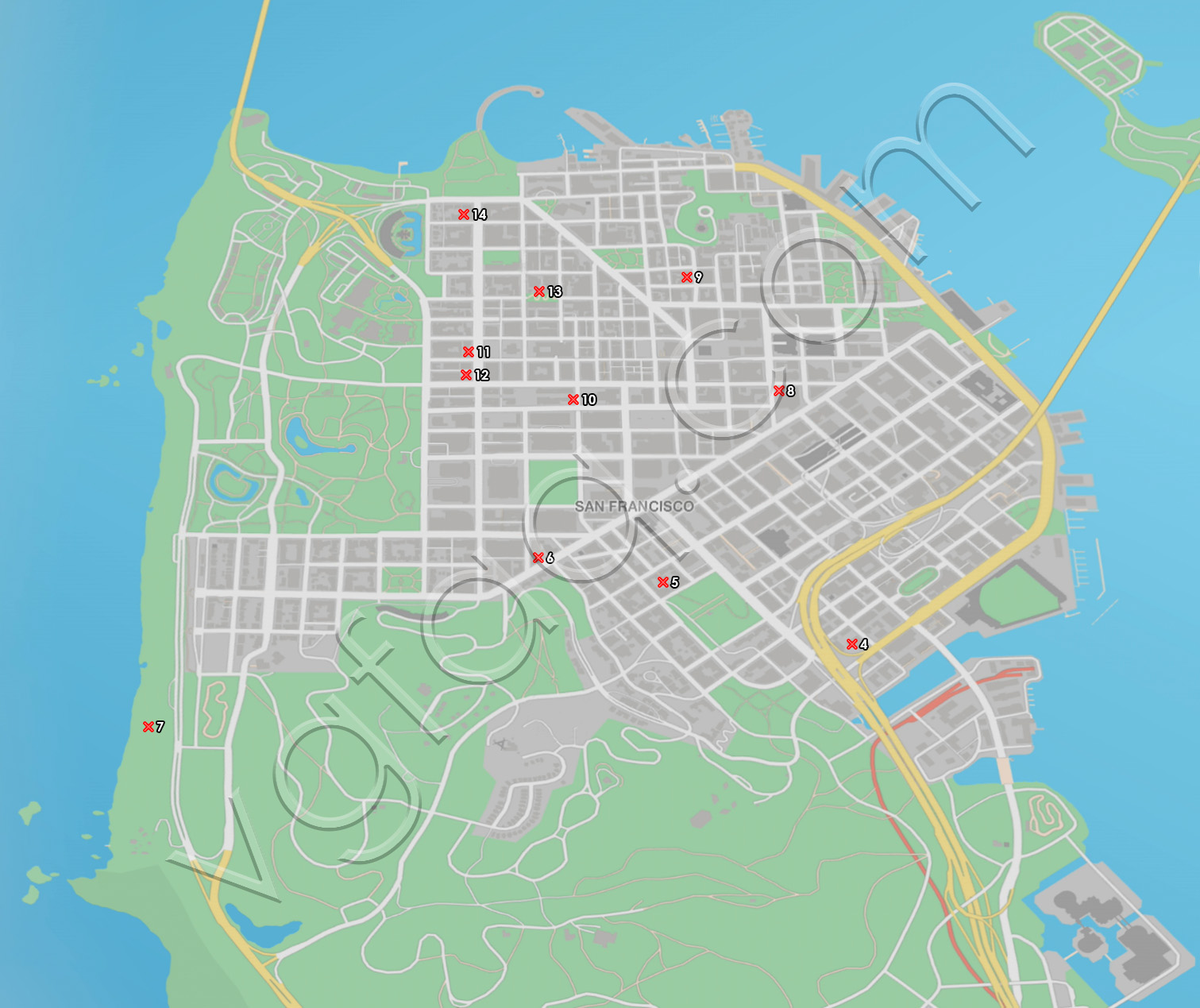 Watch Dogs 2 San Francisco Clothing Items Locations Map