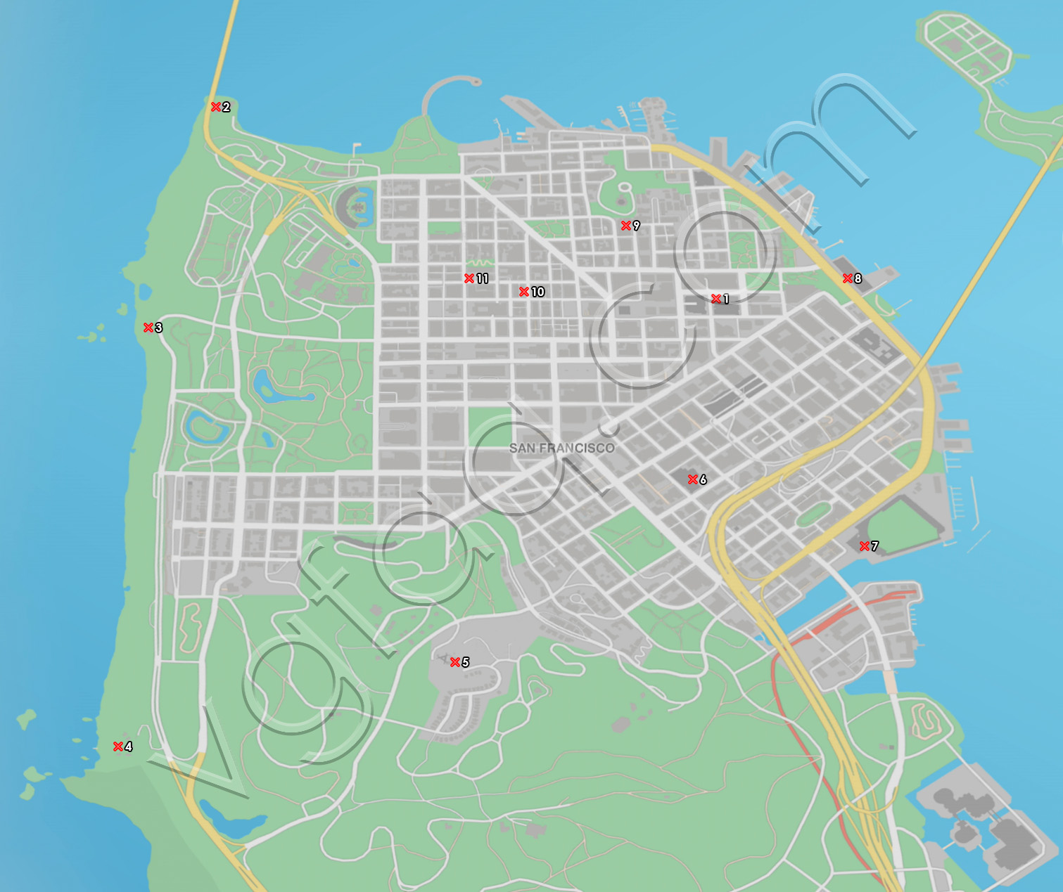 Watch Dogs 2 San Francisco Key Data Locations Map