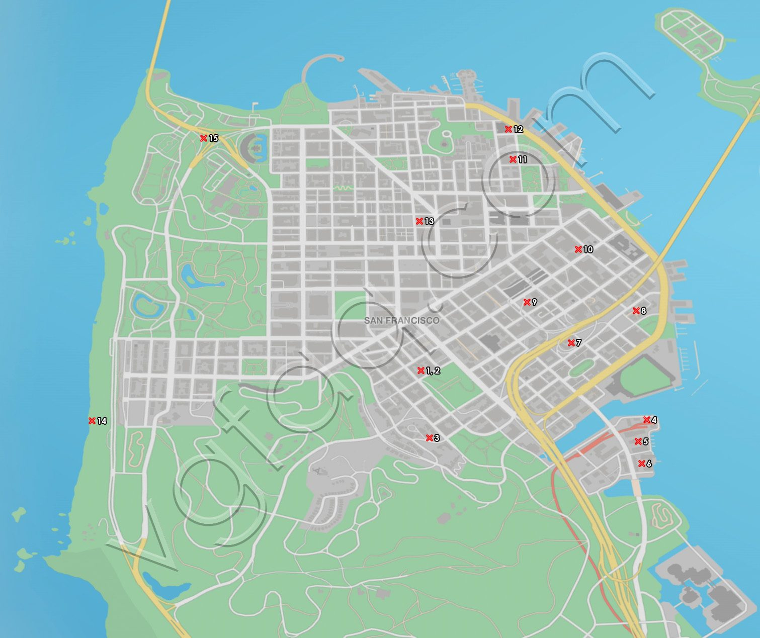 Watch Dogs 2 San Francisco Paint Jobs Locations Map