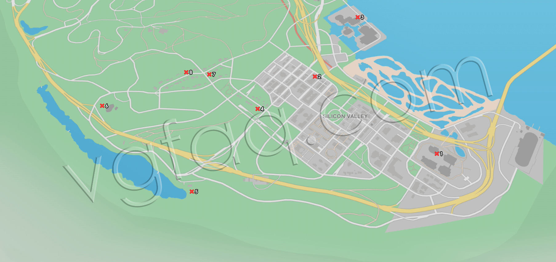 Watch Dogs 2 Silicon Valley Paint Jobs Locations Map