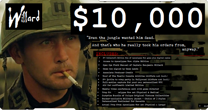 Apocalypse Now Video Game Kickstarter Pledge
