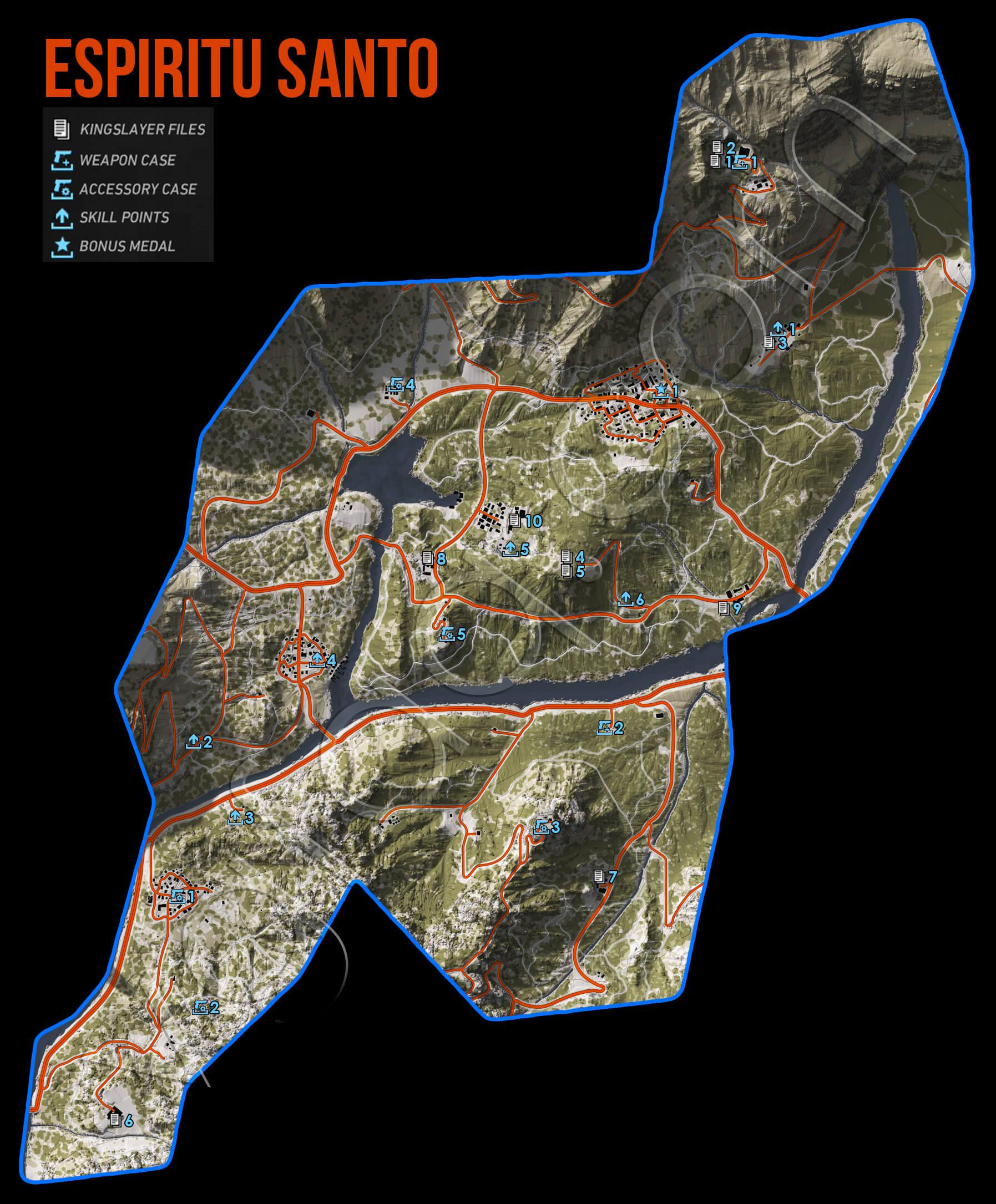 Ghost Recon Wildlands Espiritu Santo Collectables Map