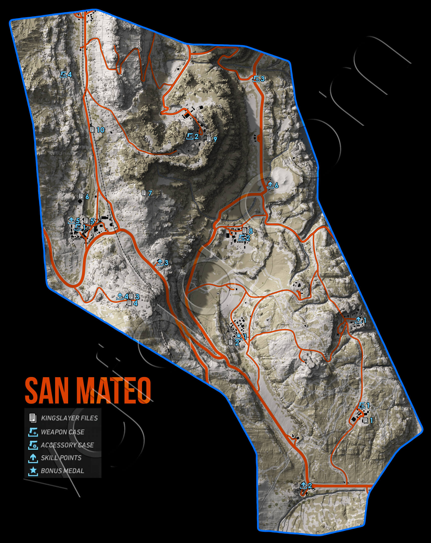 Ghost Recon Wildlands San Mateo Collectables Map