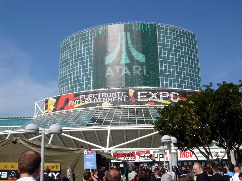 Atari's logo appears above the E3 banner at this year's expo.
