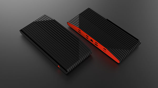 A top-down view of the Ataribox reveals a glowing red back with 4 USB ports.