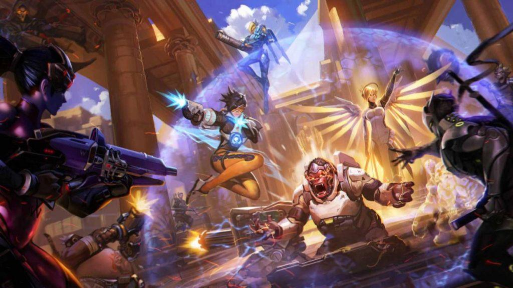An artist rendering of an Overwatch battle.