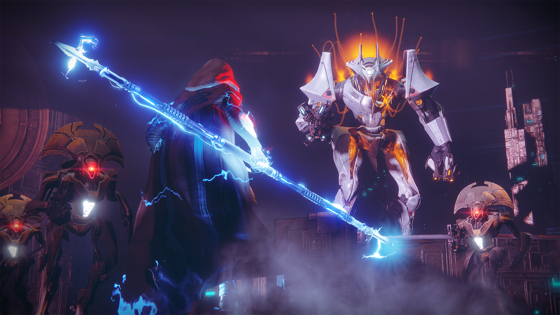 Somebody with a big blue glowy thing fighting somebody else in Destiny 2. I ain't never played Destiny 2 and you know what? No I never will. Fuck y'all.