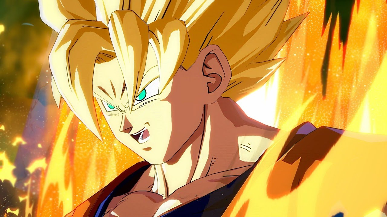 Goku powers up in Dragon Ball FighterZ.