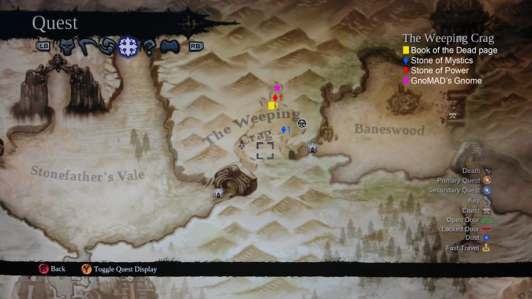 Darksiders II The Weeping Crag Collectibles Map