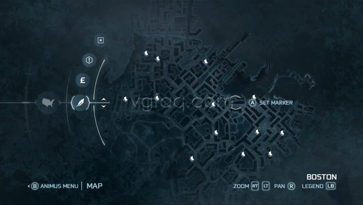 Assassin's Creed III Boston Central District Almanac Pages Locations
