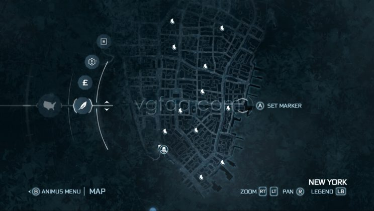 Assassin's Creed III New York East District Almanac Pages Locations