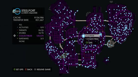 Saints Row 4 Clusters Locations