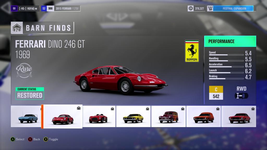 Forza Horizon 3 Ferrari Dino 246 GT Barn Find