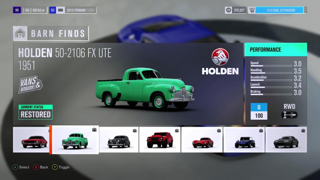 Forza Horizon 3 Holden 50 2106 FX UTE Barn Find
