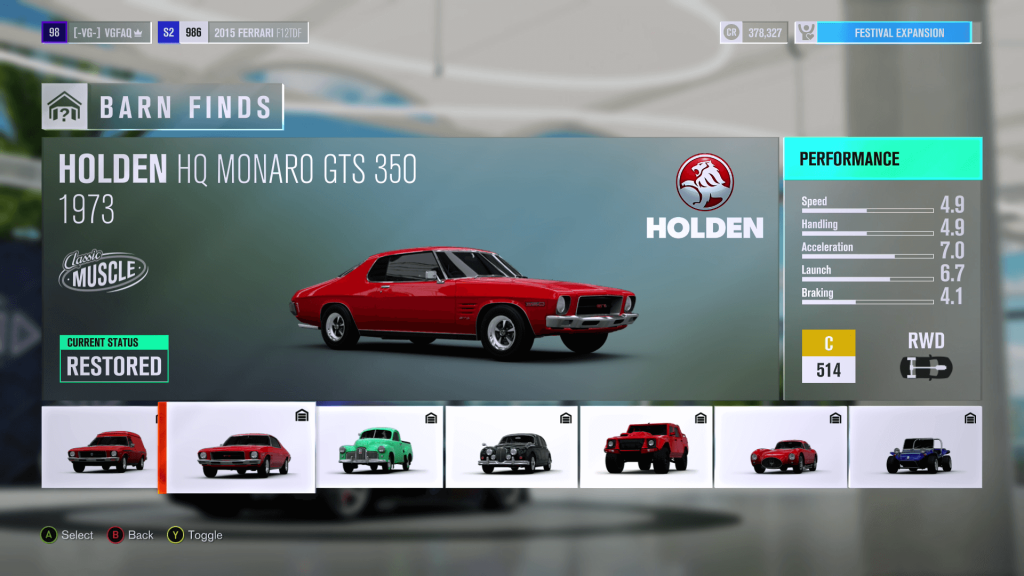 Forza Horizon 3 Holden HQ Monaro GTS 350 Barn Find