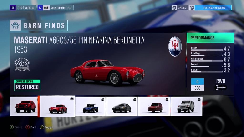 Forza Horizon 3 Maserati A6GCS 53 Pininfarina Berlinetta Barn Find