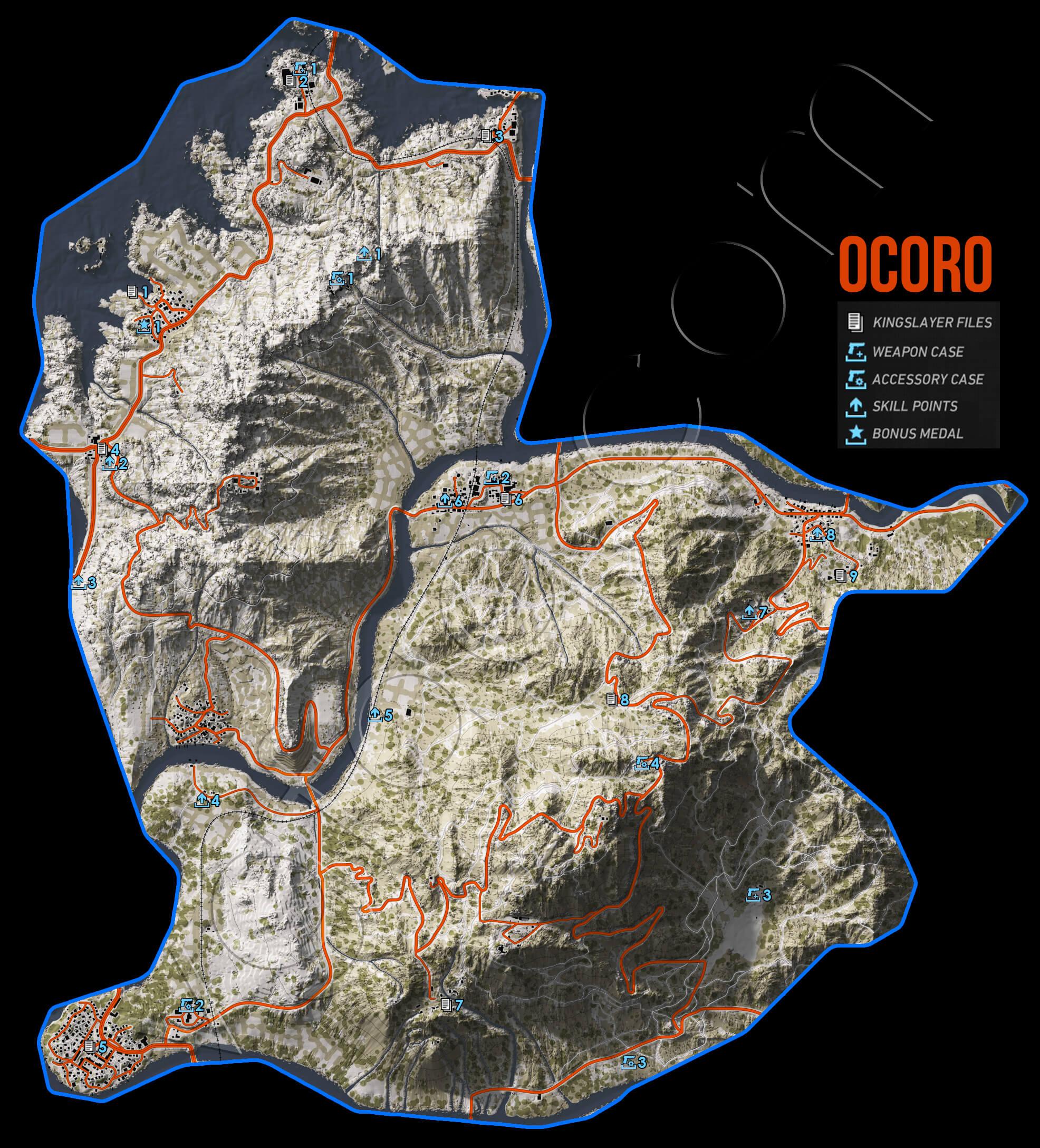 Ghost Recon Wildlands Ocoro Collectables Map