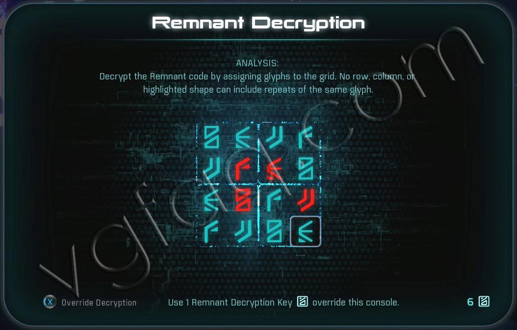 Mass Effect Andromeda Remnant Decryption Puzzle - H-047c Remnant Vault - The Remnant Tiller