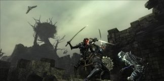 A rider rears up to attack the player in Demon's Souls.